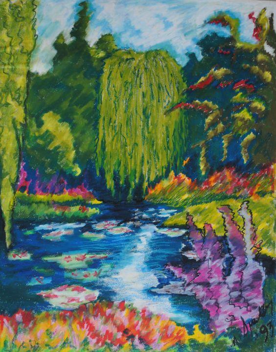 Paysage impressionniste de vert bleu pastel par NickySpauldingArt, $145.00