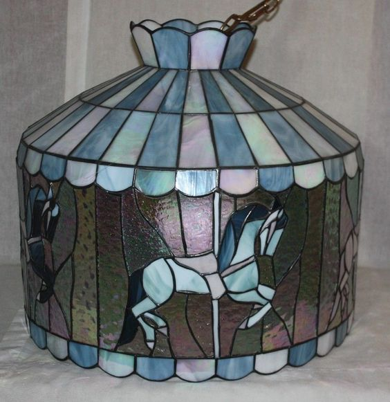 TIFFANY STYLE VINTAGE CAROUSEL UNICORN HANGING CHANDELIER LAMP in  Collectibles, Lamps, Lighting, Shades | eBay!