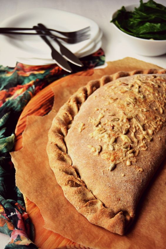 Spelt, Spinach and Cottage Cheese Calzone