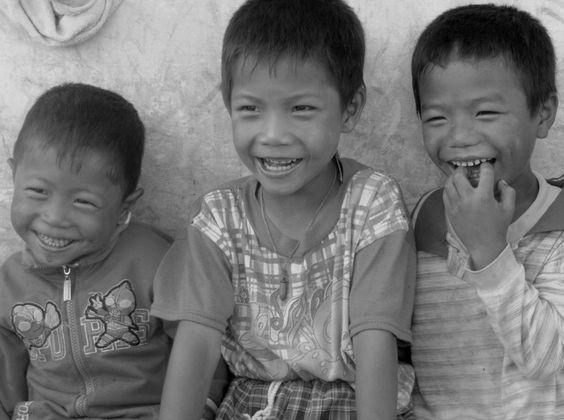 Happy children in the countryside of Myanmar (Burma)