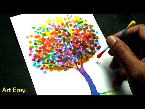 How to Draw a Rainbow Tree ll Cotton Swabs Painting Technique for Beginners  ll Easy Dot Painting - YouTube | Dot painting, Rainbow tree, Tree painting