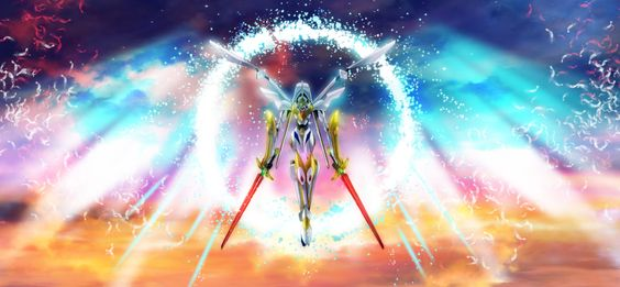 cloud code_geass feathers flying lancelot mecha sky subuta subuta17 sunset sword weapon wheel: