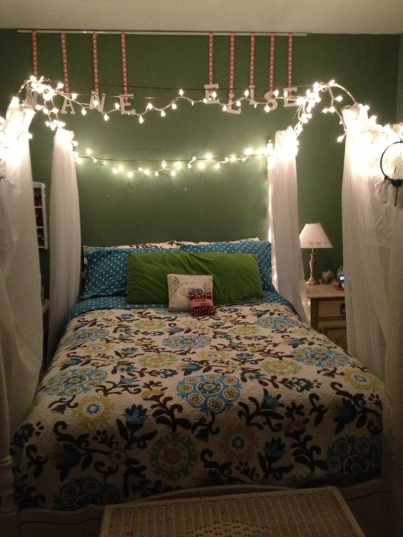 Canopy frame white christmas lights crinkle sheers Cool chill room ideas