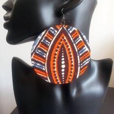 www.cewax.fr aime ces boucles d'oreilles style ethnique tendance tribale chic Boucles d oreille en pagne africain nzingha