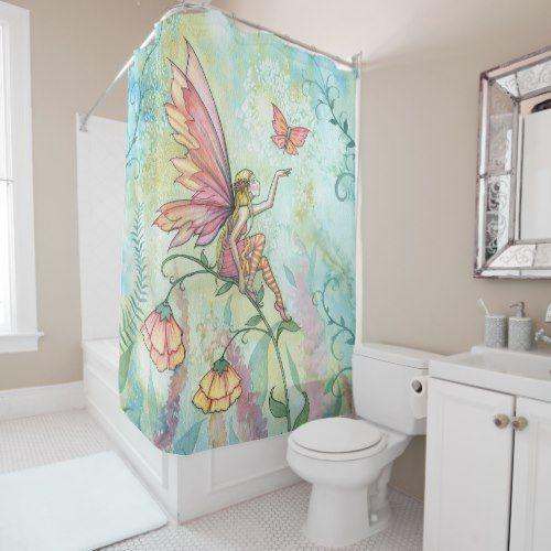 Butterfly Fairy Print Waterproof Shower Curtain Butterfly Fairy