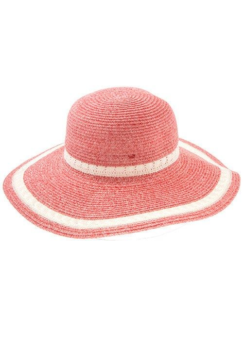 LACE TRIM WOVEN SUNMER HAT.
