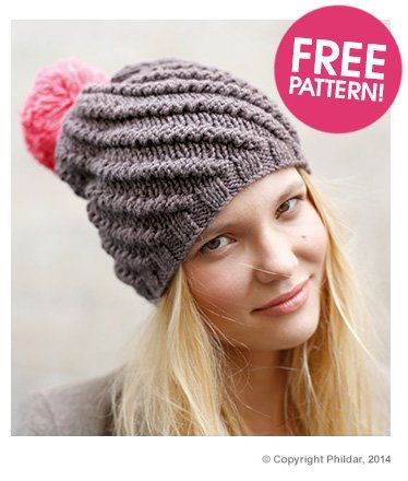 Double Knitting Bobble Hat Pattern Free : Phildar Bobble Hat Free pattern Deramores CALCETA Pinterest Free patt...