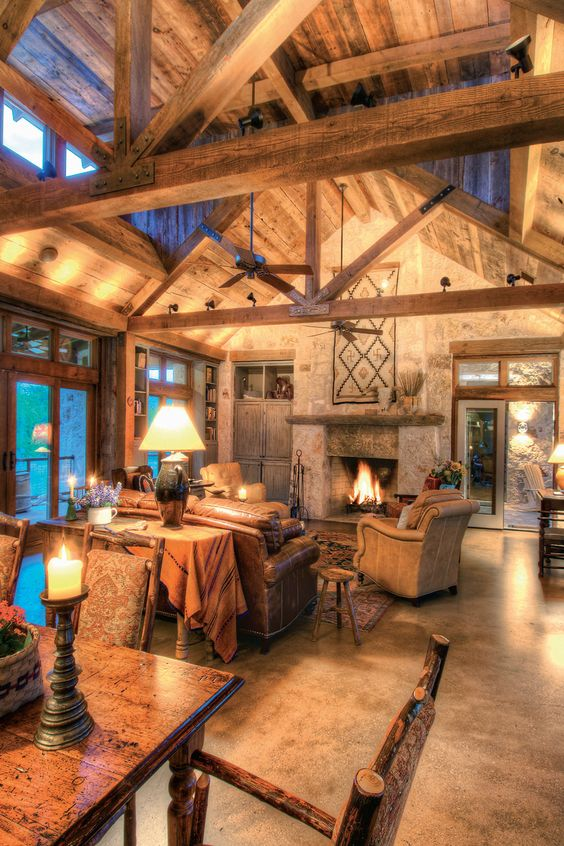 Exposed beams high ceilings and exposed rafters on pinterest for Rustic great room