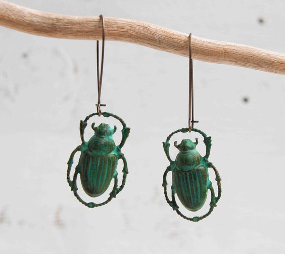 Green beetle earrings ... just the thing for Moonrise Kingdom fans.