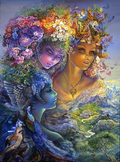 The Three Graces by Josephine Wall.   3 inseparable sisters – daughters of Zeus, representing all that is noble, beautiful and pure, keep watch from above. Aglaia (brightness) symbolised by brightly coloured butterflies, Euphrosyne (joyfulness) symbolised by the joyful sound of birdsong, and Thalia (bloom) symbolised by a headdress of flowers. Above all they were goddesses, noble of grace, and a beauty which enchants. Their hair and faces shine with radiant beauty, looking down from Mt…