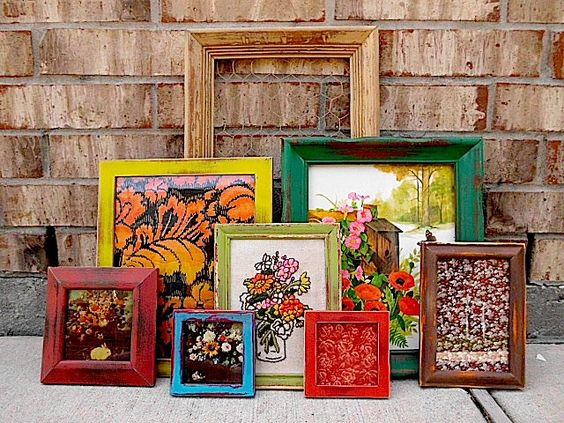 Upcycled eclectic bohemian color punch vintage picture frame picture fabric wall art - Eclectic picture frame wall ...