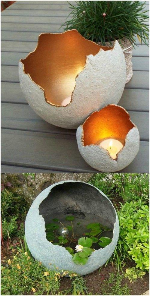 15 Near Genius Diy Concrete Ornaments, Concrete Garden Orbs Diy