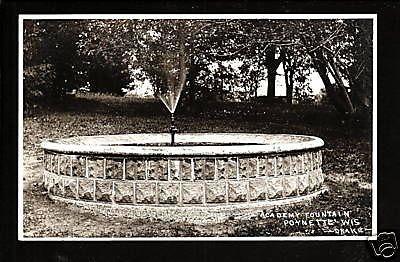 Poynette Wisconsin WI c1910 RPPC Academy Fountain Spray
