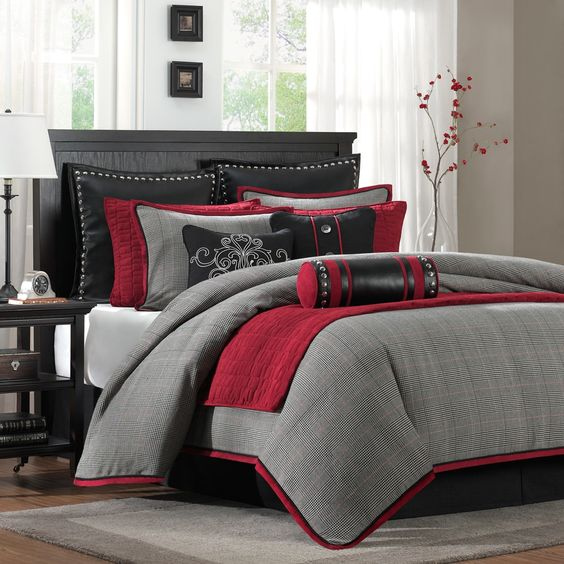 Perfect with Deep Crimson Red PeachSkinSheets .... The Hampton Hill Cambridge ensemble features a classic menswear plaid with accents of red faux suede and black faux leather. The decorative pillows feature embroidery, button accents, pewter finished nail heads, and piecing | repinned by PeachSkinSheets.com