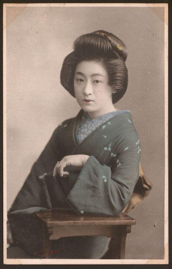Japan - Japanese Geisha Girl - 9 - Vintage Tinted Postcard c1915