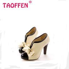 Mujeres zapatos de tacón alto nueva Sexy Lady Beige Bow Vintage del Bowknot bombas de la plataforma del dedo del pie redondo para mujer H023 tamaño 35-43(China (Mainland))