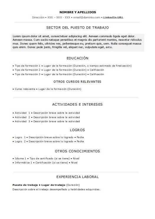 Sin Experiencia Laboral Word Resume Chart