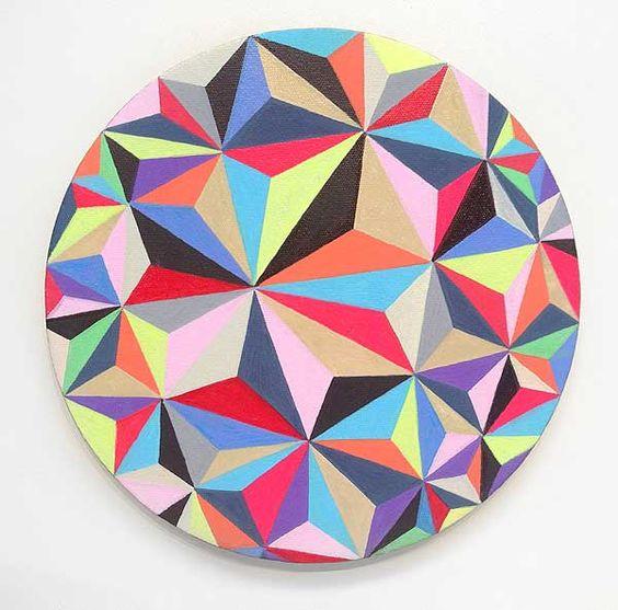 Al Munro  Hyperbolic Infinite III 2015  acrylic on canvas 25.5cm diameter