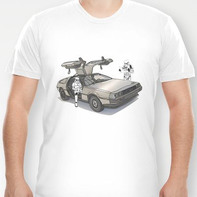 Lost, searching for the Death Star _ 2 Stormtroopers in a DeLorean  T-shirt