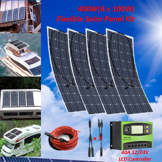 400w 4pcs 100 Watt Flexible Solar Panel Module Kit Rv Boat 12v Battery Charger Ebay Solar Energy Panels Best Solar Panels Solar Panels