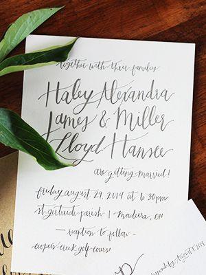Haley + Miller's Informal Calligraphy Wedding Invitations