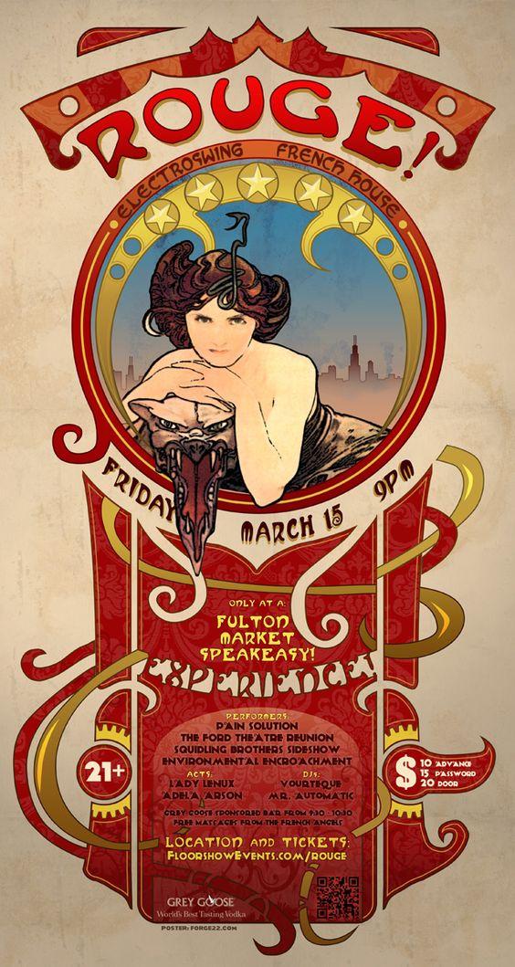 art nouveau posters | ROUGE! Art Nouveau Poster and Flyer for French Vaudeville Show ...