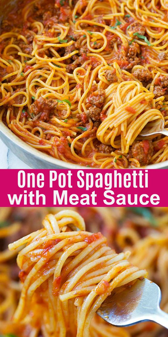One Pot Spaghetti with Meat Sauce