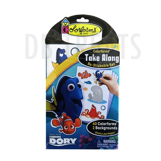Colorforms Finding Dory Take Along Restickable Sticker Set Take Colorforms with you, wherever you go! Re-usable Findy Dory stick-on set provides hours of creati