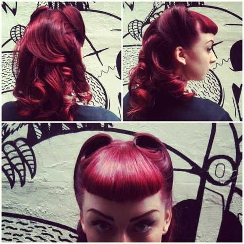 Psychobilly Girls Hairstyles | 50 s hairstyle vintage hairstyle victory rolls micro fringe red head