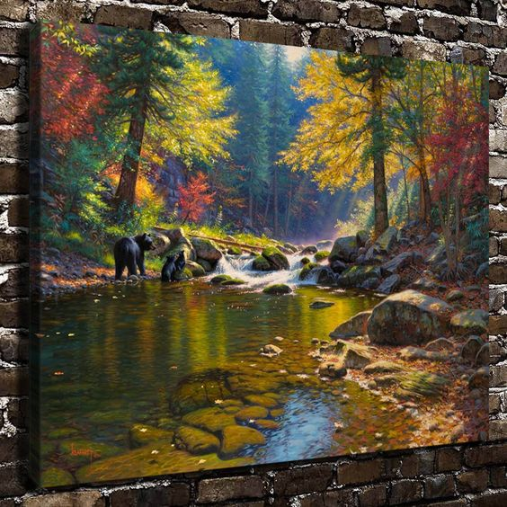 "$13.99 - Brook Bear Animal Painting 16""X20"" Hd Print On Canvas Home Decor Wall Picture #ebay #Home & Garden"