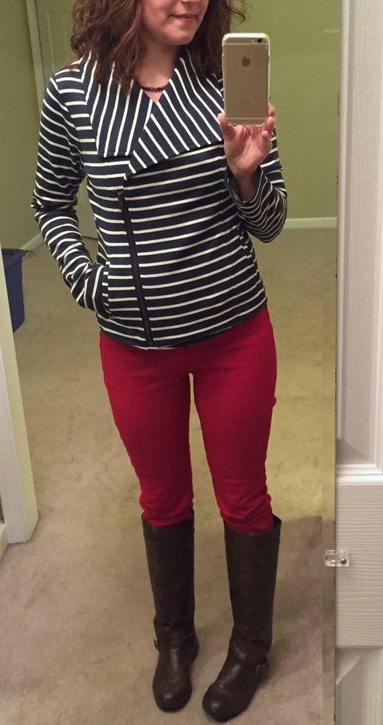 Fun striped jacket. Mystree Jackie Striped French Terry Asymmetrical Jacket