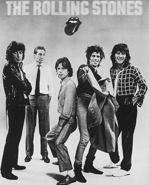 1980  The Rolling Stones, Mick Jagger, Keith Richards, Charlie Watts, Bill Wyman, Ron Wood