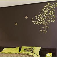 """I like this in the front room in combination with the """"zinnia grande flower"""" stencil, it adds a touch of wimsy."""