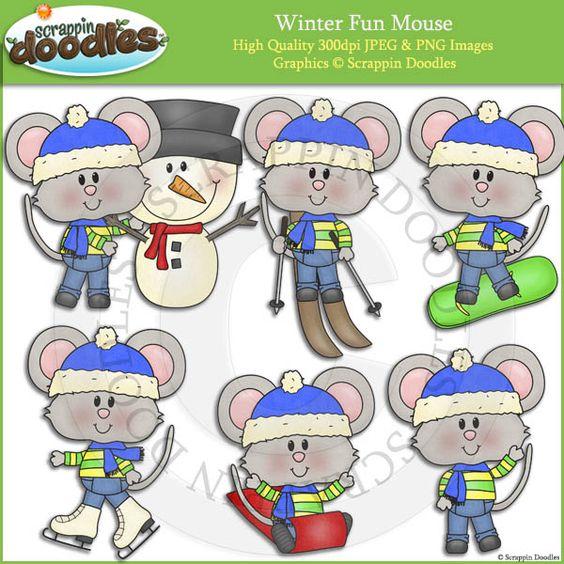 Winter Fun Mouse Clip Art
