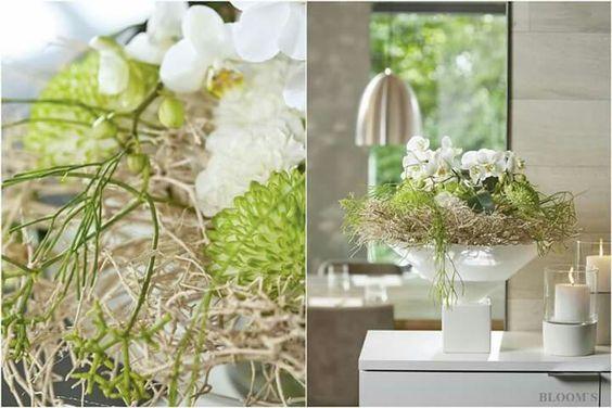 Schale Moretti mit Orchideen für den Empfang