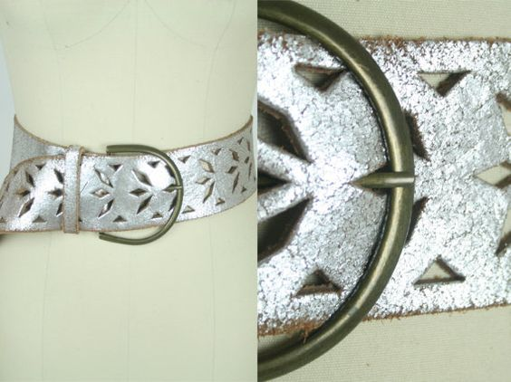 80's Silver Leather Belt