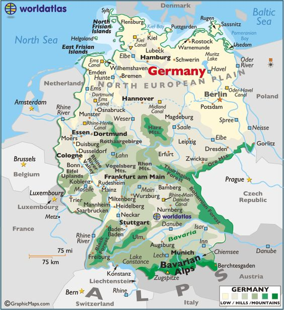Germany large color map – Map Austria Germany