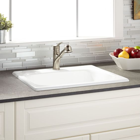 "Dream Kitchen Sink: 25"" Kilane Cast Iron Drop-In Kitchen Sink"