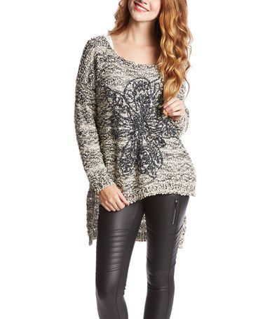 Another great find on #zulily! Beige & Black Flower Sweater by Morning Apple #zulilyfinds