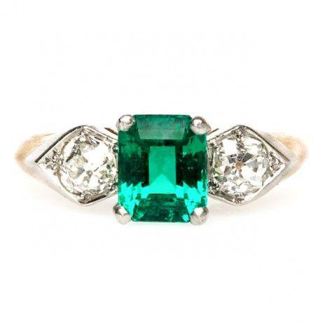 vintage emerald diamond edwardian ring / trumpet & horn