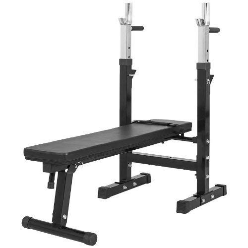 Gorilla Sports Weight Bench With Adjustable Barbell Rack Black White A Folding Home Gym 440 Lbs Rated Review Weight Benches No Equipment Workout Bench Press