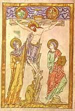 Crucifixion, Weingarten Gospels, 1050-1065.