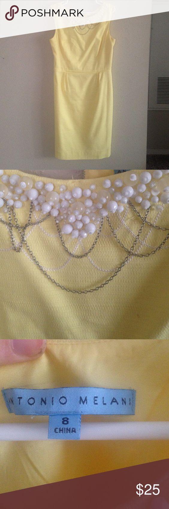 Pale Yellow Dress with Neckline Beading. 🚨 Reduced Price🚨 Pale Yellow Dress with Neckline Pearl and Chain Beading. Size 8. ANTONIO MELANI Dresses Midi