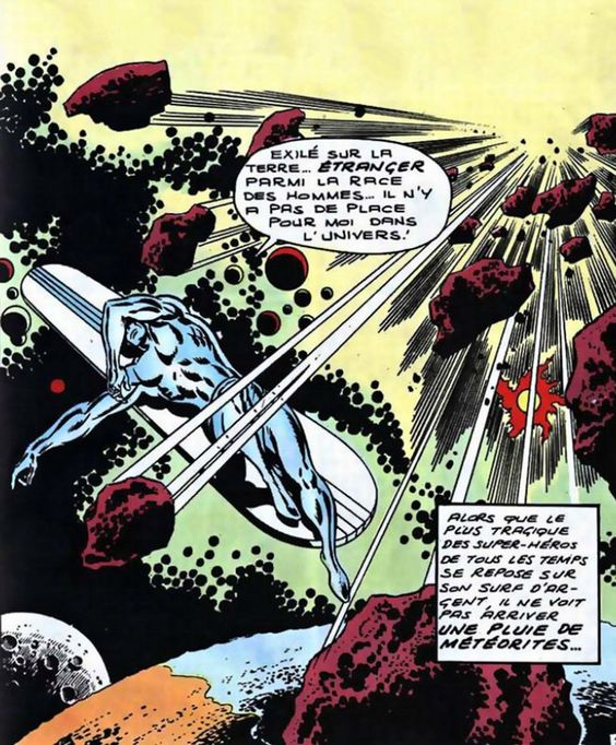 Silver Surfer by John Buscema, 1969. ~ The site said this was by Jack Kirby but no. This is by John Buscema, and I never noticed that his right arm and hand are lifted from Michelangelo, so an homage to the master.