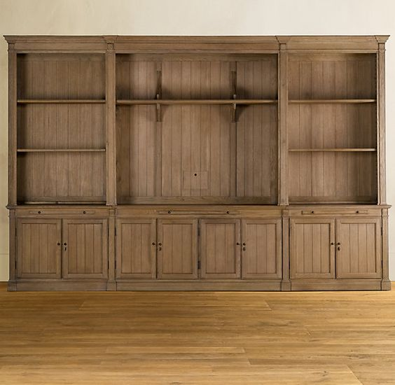 ^ Large Library Media System Wood Shelving & abinets ...