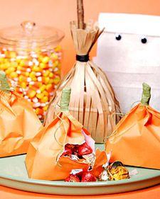 Filled paper pumpkins