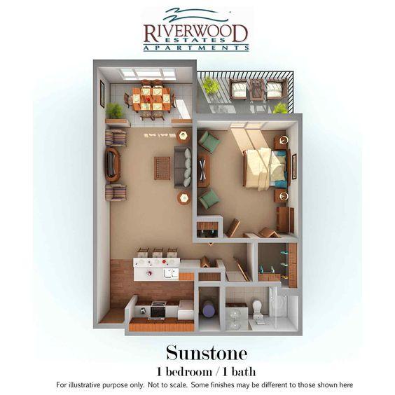 Sunstone - 800 sqft - 1 bedroom / 1 bath  Pet friendly!  Riverwood Estates, 535 W. Riverwood Dr, Oak Creek, WI 53154  www.riverwood-wi.com