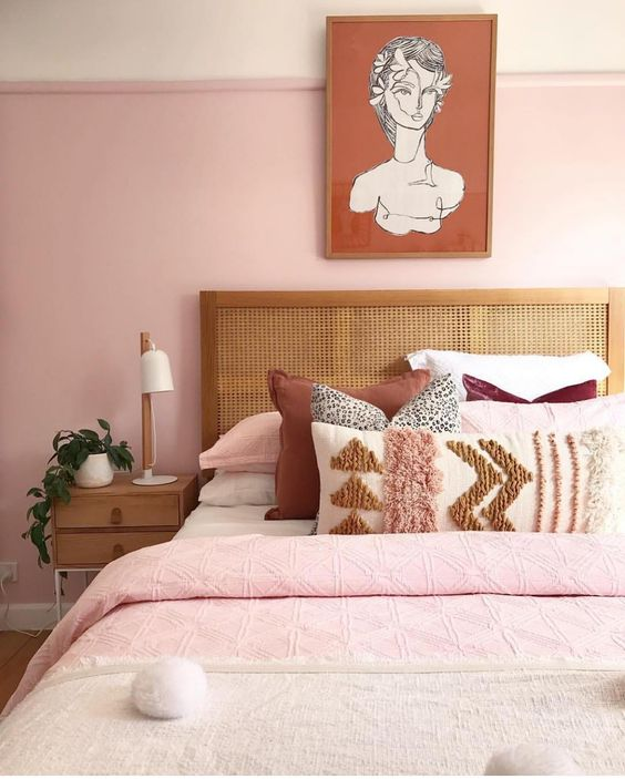 pink bedrooms, pink bedroom ideas, pink boho decor, boho bedrooms, pink bedroom inspiration, rattan headboard, boho pillows, pink walls, minimal bedroom, boho bedroom inspiration