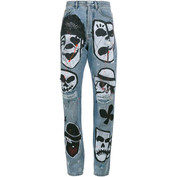 Faith Connexion Hand-Painted Skull Head Boyfriend Jeans (€770) ❤ liked on Polyvore featuring jeans, faith connexion jeans, blue jeans, boyfriend jeans, american jeans and multi colored jeans
