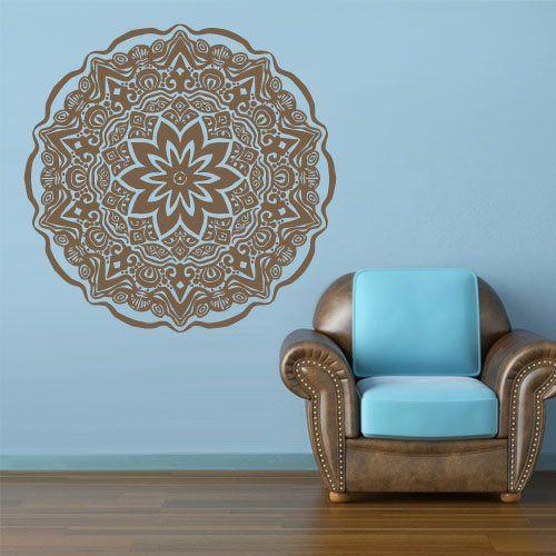 Wall Decal Vinyl Mural Sticker Art Decor Bedroom Yoga Kitchen Ceiling Mandala Menhdi Flower Pattern Ornament Om Indian Hindu Buddha (Z2854)